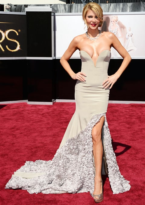 Brandi Glanville's gown at the 2013 Oscar gown