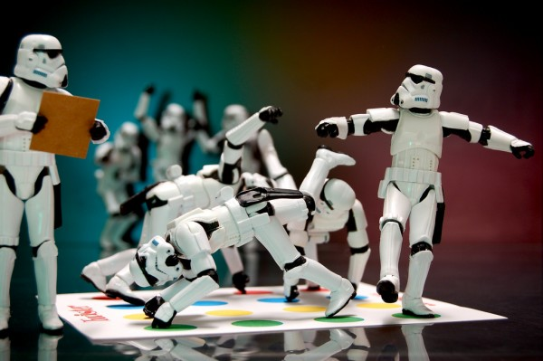 Group of Stormtroopers playing twister