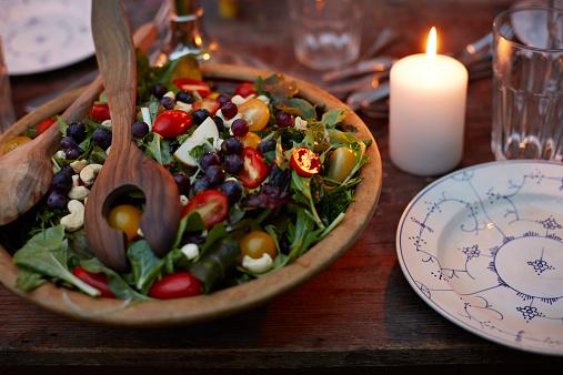 Rustic organic salad at dinner table