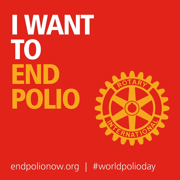 """I want to end polio"" on red background"